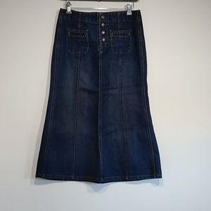 Gap jeans denim maxi skirt dark wash